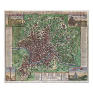 Vintage Map of Rome Italy (1721) Poster
