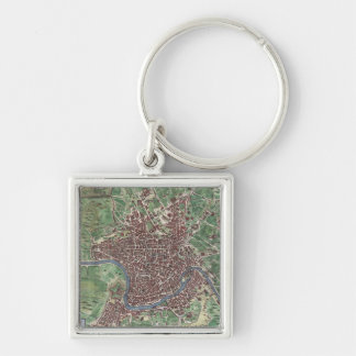 Vintage Map of Rome Italy (1721) Silver-Colored Square Keychain