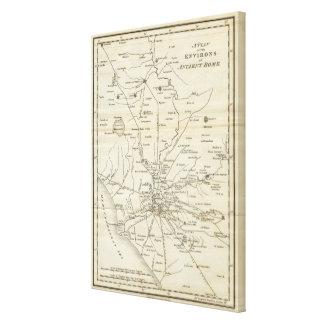 Vintage Map of Rome Italy (1821) Stretched Canvas Print