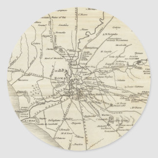 Vintage Map of Rome Italy (1821) Classic Round Sticker
