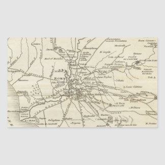 Vintage Map of Rome Italy (1821) Rectangular Sticker