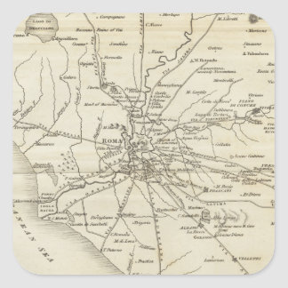 Vintage Map of Rome Italy (1821) Square Sticker