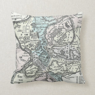 Vintage Map of Rome Italy (1862) Throw Pillow
