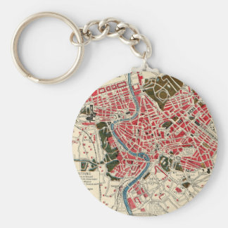 Vintage Map of Rome, Italy. Basic Round Button Keychain