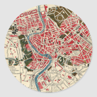 Vintage Map of Rome, Italy. Classic Round Sticker