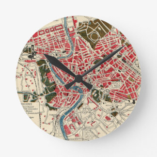 Vintage Map of Rome, Italy. Round Clocks