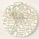 Vintage Map of ROME ITALY Coaster Beermat