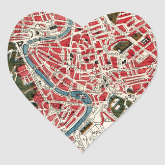 Vintage Map of Rome, Italy. Heart Sticker