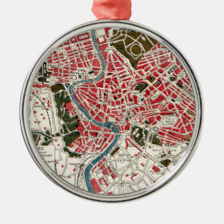 Vintage Map of Rome, Italy. Metal Ornament
