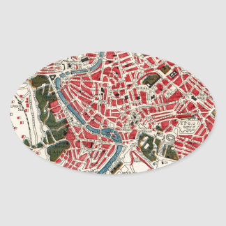 Vintage Map of Rome, Italy. Oval Sticker