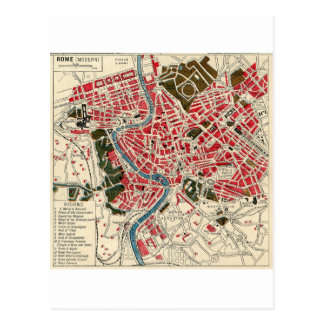 Vintage Map of Rome, Italy. Postcard