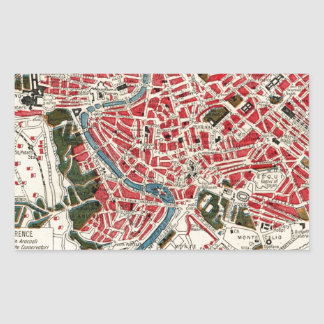 Vintage Map of Rome, Italy. Rectangular Sticker