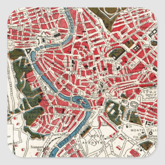 Vintage Map of Rome, Italy. Square Sticker