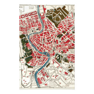 Vintage Map of Rome, Italy. Stationery