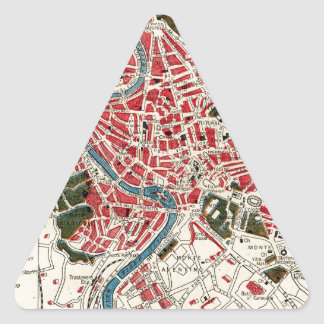 Vintage Map of Rome, Italy. Triangle Sticker