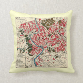 Vintage Map of Rome Throw Pillows
