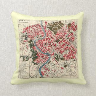 Vintage Map of Rome Throw Pillows