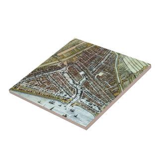 Vintage Map of Rotterdam Netherlands (1649) Tile