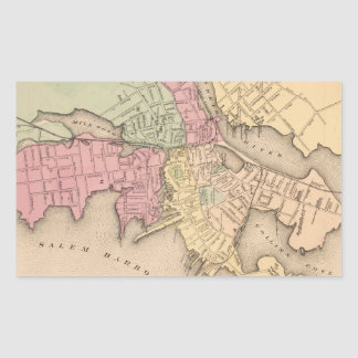 Vintage Map of Salem Massachusetts (1871) Rectangular Sticker