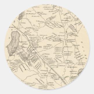 Vintage Map of Salem Massachusetts (1892) Classic Round Sticker