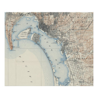 Vintage Map of San Diego California (1902) Poster
