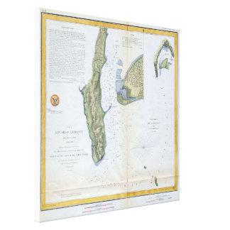 Vintage Map of San Diego & Coronado (1853) Canvas Print