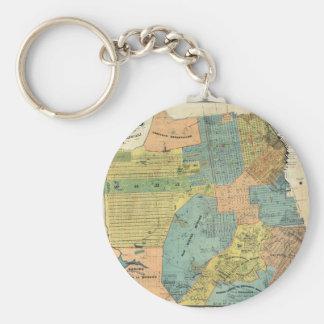 Vintage Map of San Francisco (1890) Basic Round Button Keychain