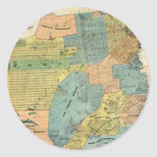 Vintage Map of San Francisco (1890) Classic Round Sticker