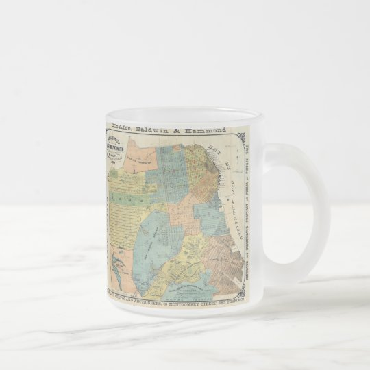 Vintage Map of San Francisco (1890) Frosted Glass Coffee Mug