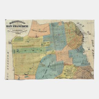 Vintage Map of San Francisco (1890) Kitchen Towels