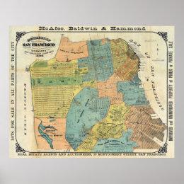 Vintage Map of San Francisco (1890) Poster