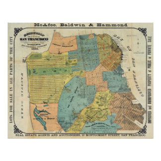 Vintage Map of San Francisco (1890) Poster