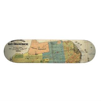 Vintage Map of San Francisco (1890) Skateboard