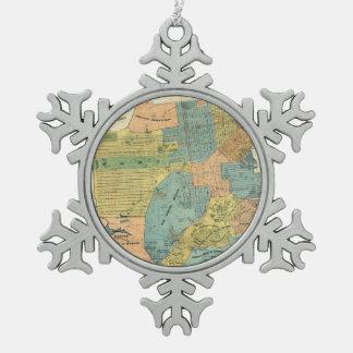 Vintage Map of San Francisco (1890) Snowflake Pewter Christmas Ornament