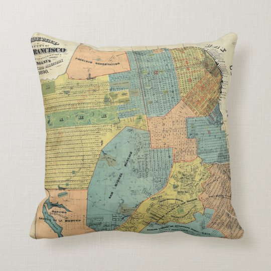 Vintage Map of San Francisco (1890) Throw Pillow