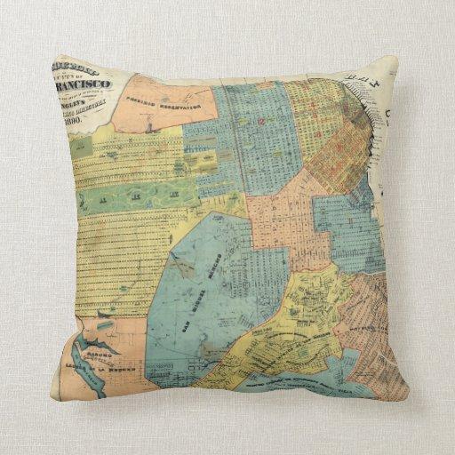 Vintage Map of San Francisco (1890) Throw Pillows