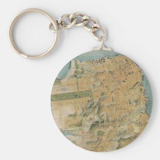 Vintage Map of San Francisco (1915) Basic Round Button Keychain