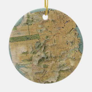 Vintage Map of San Francisco (1915) Double-Sided Ceramic Round Christmas Ornament