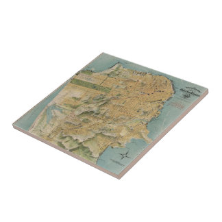 Vintage Map of San Francisco (1915) Small Square Tile