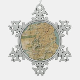 Vintage Map of San Francisco (1915) Snowflake Pewter Christmas Ornament