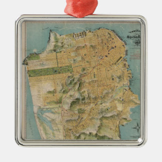 Vintage Map of San Francisco (1915) Square Metal Christmas Ornament