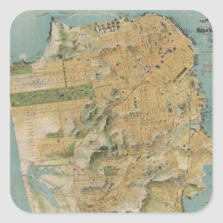 Vintage Map of San Francisco (1915) Square Sticker