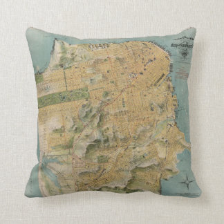 Vintage Map of San Francisco (1915) Throw Pillow