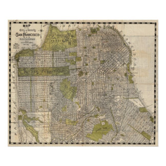 Vintage Map of San Francisco (1932) Poster