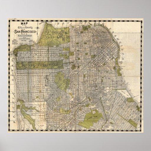 Vintage Map of San Francisco (1932) Poster