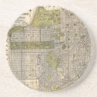 Vintage Map of San Francisco (1932) Sandstone Coaster