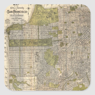 Vintage Map of San Francisco (1932) Square Sticker