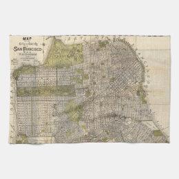 Vintage Map of San Francisco (1932) Towel