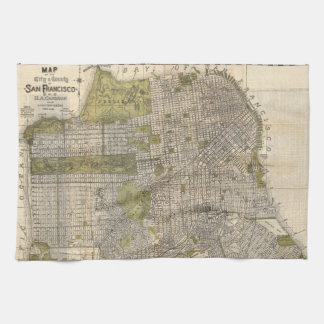 Vintage Map of San Francisco (1932) Towels
