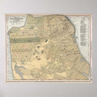 Vintage Map of San Francisco CA (1891) Poster